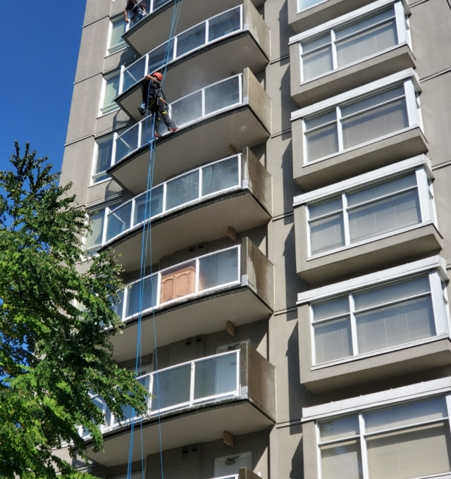 cleaning outside building