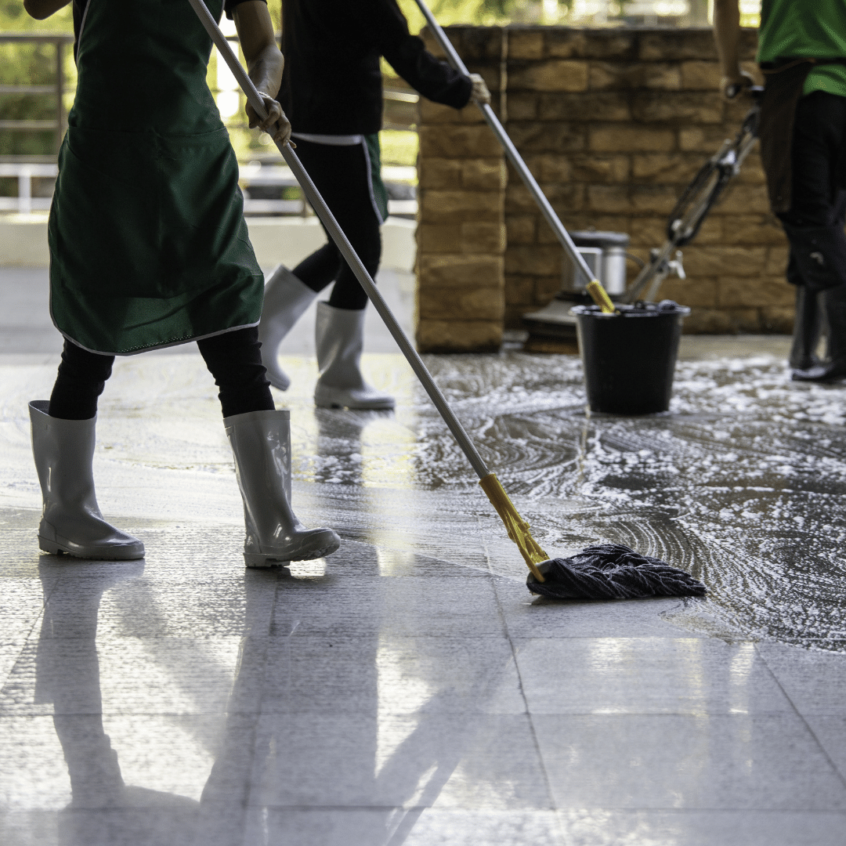 visual image of professional floor cleaning